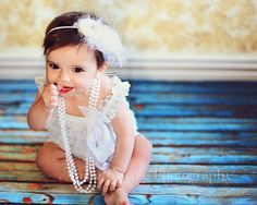 Vintage Style Baby Photo with Feathers and Pearls / Flapper Style <3