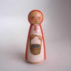 Little Red Riding Hood Wood Peg Doll by littlewoodpeople on Etsy, $26.00 WOOD & COLORED PENCIL