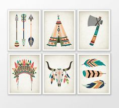 Tribal Nursery Art Print Set Of 6  American by QuantumPrints
