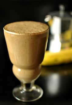 Coffee Banana Smoothie- use Greek yogurt for protein.