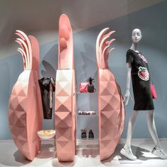 """LEFFERS MODE, Oldenburg, Germany, """"In a World full of Apples... Be a Pineapple"""", mannequin by Bonaveri Germany, pinned by Ton van der Veer"""