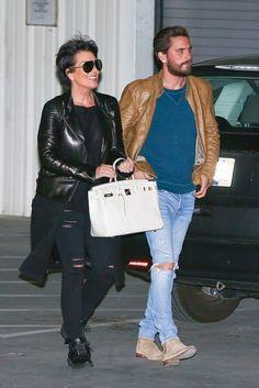 Scott Disick wearing  Saint Laurent Tan Suede Chelsea Boots, Maison Margiela Sweatshirt