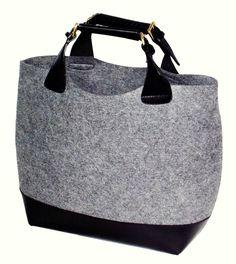 Felt + leather shopper bag, Zara