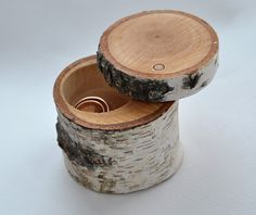 birch wood ring box for wedding decor . . .  ring bearer pillow . . .  ring box on Etsy, $20.00