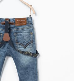 Image 4 of Slim jeans with suspenders from Zara