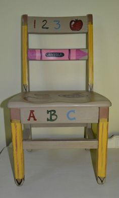 Painted Vintage Oak Wood Child Chair Old School Chair #oakschoolchair #Traditional
