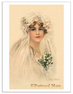 Boileau Young Bride Vintage Postcard Image Greeting Card or Art Print Vintage Wedding Photos, Vintage Bridal, Vintage Girls, Vintage Pictures, Vintage Images, Victorian Bride, Wedding Illustration, Amazing Wedding Dress, Wedding Bride