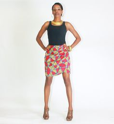 Stunning African Print Red & Blue Ruched Mini by BrookandEnvy, $75.00