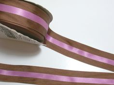 Brown and Raspberry Satin Stripe Grosgrain by GriffithGardens, $1.25