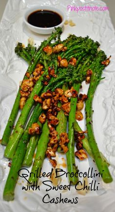 Grilled Broccolini with Sweet Chilli Cashews from pinkpostitnote.com