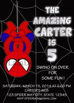Spiderman Birthday Invitation /  5x7 / by LalaDeeCreations on Etsy, $10.00