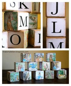 DIY alphabet blocks ~ these would work with other kids stories too.find kids books at local thrift store, they are usually less than a dollar Alphabet Blocks, Alphabet For Kids, Diy Craft Projects, Fun Crafts, Wood Crafts, Craft Ideas, Chalk Labels, Diy Mod Podge, Bookmark Craft