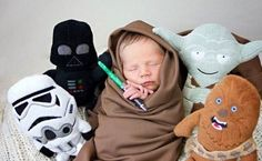 Check out this funny photo of a little baby dressed up as a Jedi Knight and surrounded by Star Wars stuffed animals, on NickMom.com!