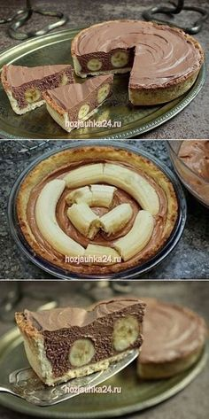 İdeen Easy Cake Cake with bananas and chocolate mousse, New Dessert Recipe, B Recipe, Dessert Cake Recipes, Pie Dessert, Decadent Food, Flan, Yummy Cakes, Baking Recipes, Sweet Recipes