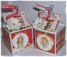 Hand made half pint milk carton gift boxes using Mini Tildas from http://www.magnoliastamps.us/ #crafts #cards