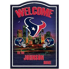 Houston Texans Wooden Personalized Welcome Sign Wall Decor Houston Texans Logo, Houston Skyline, Man Cave Games, Wooden Welcome Signs, Detroit Lions, Personalized Signs, Oakland Raiders, Wood Veneer, Wall Signs