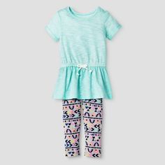 Baby Girls' Pleated Top and Bottom Legging Blue - Cat & Jack™ : Target