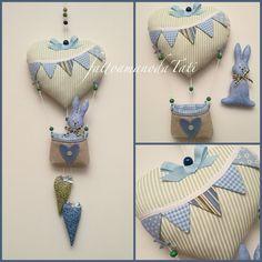 Fiocco nascita mongolfiera con coniglietto , by fattoamanodaTati