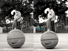 #Basketball inspired #engagement  Would be so cute for you and jesse!!! :) just an idea! hope you dont mind!   @Sarah Chintomby Chintomby Mankey