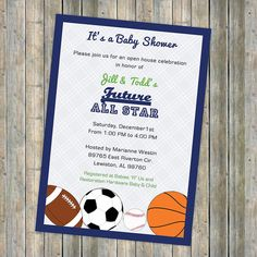 Baby boy shower invitations,  All Star Invite, Sports themed, Future All star, digital, printable file