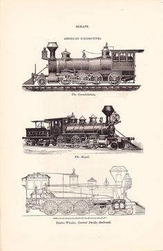 1886 Technical Drawing  Train Locomotives  Antique by Holcroft, $12.00