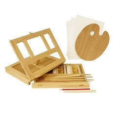 Amazon.com: US Art Supply® Wood Easel Box Set with 12 Colors, Canvas Panels, Brushes, Palette, Pencil & Knife (Oil Paint Kit)