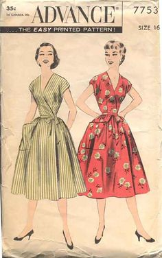Vintage Sewing Patterns Advance 7753 Misses Wrap Around Summer Dress Bust 30 size Extra Small Dress Patterns by SewMrsP Vintage Dress Patterns, Vintage Dresses, Vintage Outfits, Vintage Fashion, Apron Patterns, Vintage Wardrobe, 1950s Fashion, Women's Fashion, Vestidos Retro