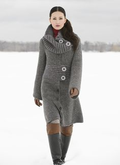 Long on length and high on fashion, this coat is knit in lightweight Blue Sky Fibers Techno with a Blue Sky Alpacas Bulky waistband for added structure. A detachable collar that offers multiple styling options and bold buttons combine to make this coat a statement. Pattern No. MC