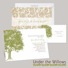 damask, tree, elegant wedding Invitations | oak tree wedding invitation