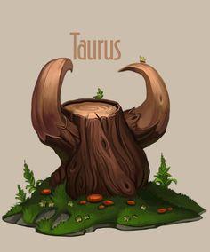 12 trees for 12 zodiacal signs Taurus Art, Taurus Bull, Zodiac Signs Taurus, Sagittarius And Capricorn, Zodiac Art, Astrology Zodiac, Zodiac Society, Environment Concept Art, Environmental Art