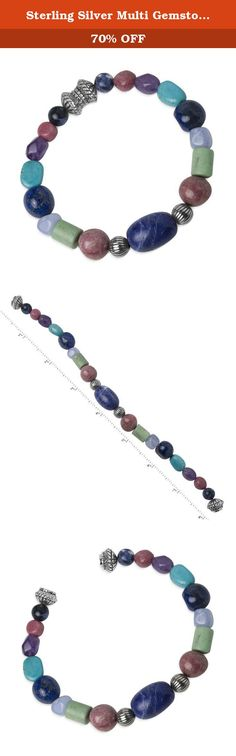 Sterling Silver Multi Gemstone Beaded Magnetic Bracelet. Wrap your wrist in a rainbow of color. Sophisticated sterling silver corrugated beads flank an indigo blue sodalite centerpiece stone. Genuine stones of pink rhodonite, green variscite, light blue lace agate, blue lapis, blue turquoise, and purple amethyst all combine to finish a bracelet that provides a colorful splash of style to your wardrobe. In addition to being easy to wear on its own, this 8 inch bracelet's silver magnet…