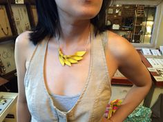 Petal Collection: Yellow Leather Petal necklace by HaKNiK on Etsy