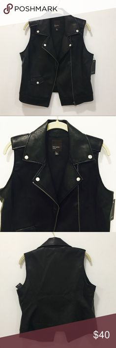 Faux Leather Vest NWT. Size M. Silver details. Just as pictured. Really looks more expensive than it is! Very well tailored. free press Jackets & Coats Vests