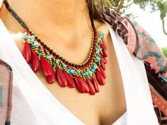 Red ethnic jewelry bohemian necklace boho jewelry by Handemadeit