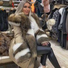 Faux Fur Hooded Coat, Fox Fur Coat, Parka Coat, Faux Fur Jacket, Winter Coats Women, Coats For Women, Womens Parka, Fur Fashion, Elegant