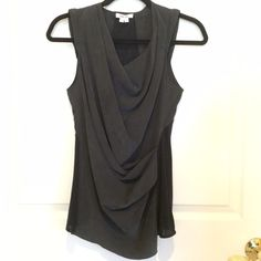 🎤Host Pick🎤 Helmet Lang Top So cute!  Worn once, 100% silk shell with side panels & back in 50% cotton & 50% modal. Drape front, light padding on sleeves (see pic). Charcoal & black. Helmut Lang Tops