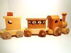 Wooden Toy Train Set Heirloom Quality Classic door OzarkRusticWood