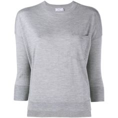 Frame Denim Le Crew Wool-Cashmere Blend Sweater ($305) ❤ liked on Polyvore featuring tops, sweaters, grey, crew sweater, layered tops, grey sweater, layering shirts and gray shirt