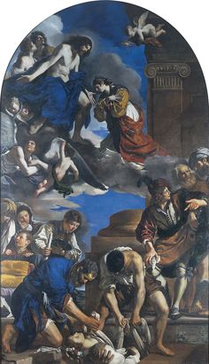 THE BURIAL AND RECEPTION INTO HEAVEN OF SAINT PETRONILLA. 1623. oil on canvas. 720 × 423 cm.