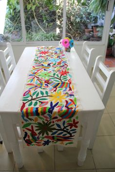 Gorgeous Multi Colored one of a kind Hand Embroidered Otomi Table runn – Casa…