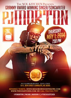 TONIGHT at 730 pm, don't miss Maroon 5's, YMCMB Recording Artist & Grammy Award Winning Singer/Songwriter PJ MORTON. If you like LIVE MUSIC, you don't want to miss this.  Neighborhood Theatre 511 E. 36th Street Charlotte, NC 28205  Hosted by JC   Advance Tickets: www.neighborhoodtheatre.com or call 704.942.7997