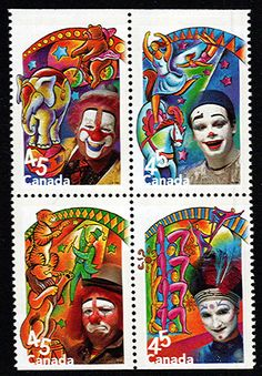A block of Canadian postage stamps from 1998 depicting two whiteface clowns and two auguste clowns (Dr Karl Shuker) Auguste Clown, Famous Clowns, Mime, Postage Stamp Collection, Le Clown, Pierrot, Postage Stamp Art, Love Stamps, Small Art