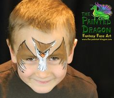 Owl - Photo Gallery - The Painted Dragon -- Face painting for the Quad Cities and surronding areas. Dragon Face Painting, Face Painting For Boys, Face Painting Designs, Body Painting, Face Fun, Boy Face, Owl Face Paint, Quad Cities, Theatrical Makeup