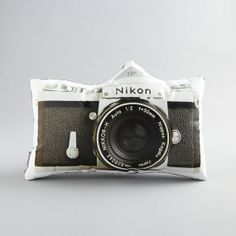 Vintage Nikon F Camera Printed Pillow by intheseam on Etsy, $65.00