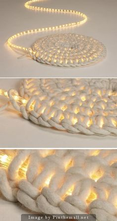 Crochet around a rope light to create a light-up rug. Good for; Christmas tree skirt, seasonal decoration or just because it's really neat. No instructions in the link, just follow a pattern for basic flat spiral and stitch around the rope light.