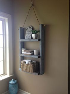 rustic bathroom shelf with rope by on etsy