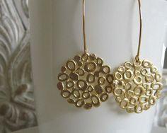 Long Earrings Gold Earrings Organic Earrings by AdiYesod on Etsy. , via Etsy.