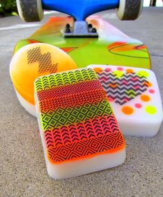 Graphic Neon Soaps DIY from Lets Get Soapy Issue 9 #california style #neon #tribal #graphic #soap #diy #glycerin
