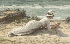 Summer on the dunes, by Niels Frederik Schiøttz-Jensen (Danish, 1855-1941)