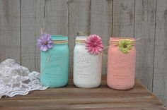 Shabby Chic Mason Jars, White, Turquoise, Mint Green, Blush, Coral, Hand Painted, Distressed, Wedding, Beach Decor, Painted Mason Jar